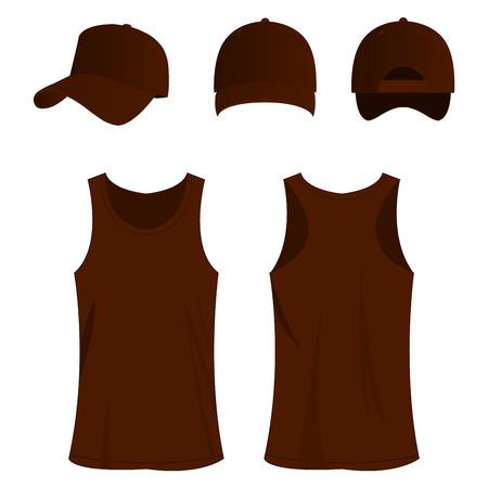 brown sport top and cap vector set
