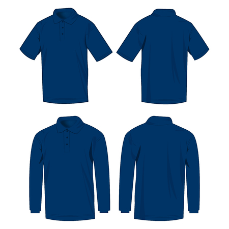 Navy blue polo shirt and polo with long sleeve isolated vector set