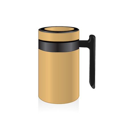 thermo: Vector light brown color thermo mug, travel mug, thermos isolated on white background