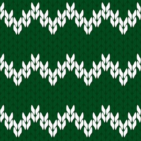 dcor: Knitted green and white background pattern triangle isolated vector