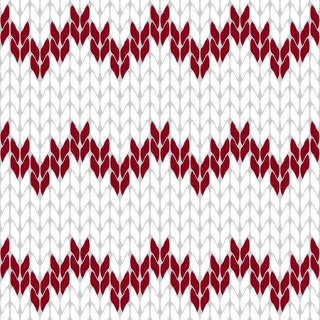 coarse: Knitted white and dark red background pattern triangle isolated vector