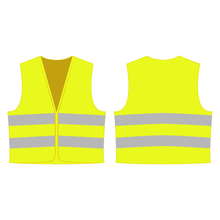 gelb reflektierende Sicherheitsweste für Menschen isoliert Vektor Vorder-und Rückseite für die Förderung auf dem weißen Hintergrund