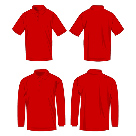 Red polo shirt and polo with long sleeve isolated vector set