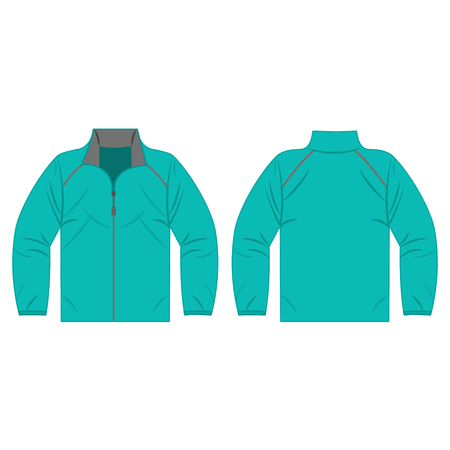 Turquoise autumn, spring jacket isolated vector front and back for promotion advertising
