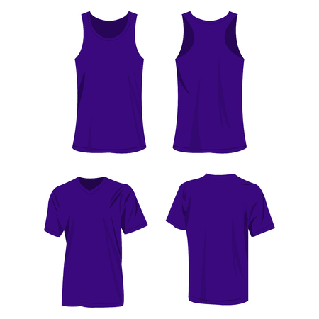 violet sport top and t-shirt isolated vector set Illustration