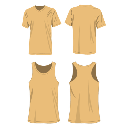 light brown sport top and t-shirt isolated vector set