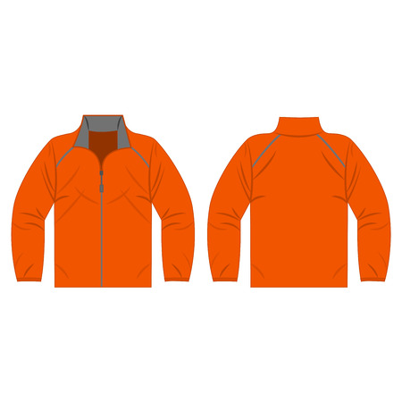 Orange autumn, spring jacket isolated vector front and back for promotion advertising