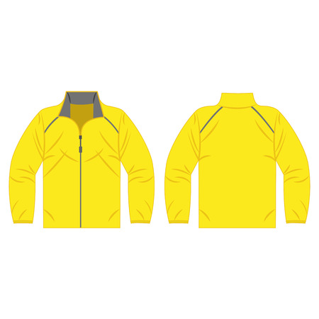 yellow jacket: Yellow autumn, spring jacket isolated vector front and back for promotion advertising