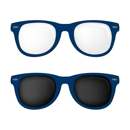 sunglasses isolated: Hipster blue color glasses and sunglasses isolated vector set