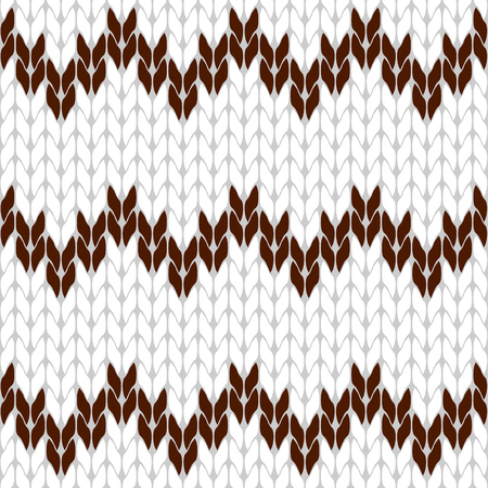 coarse: Knitted white and brown background pattern triangle isolated vector Illustration