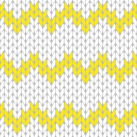 Knitted white and yellow background pattern triangle isolated vector Illustration