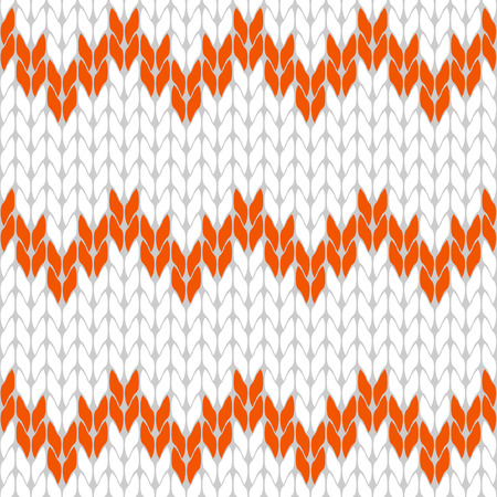 Knitted white and orange background pattern triangle isolated vector Illustration