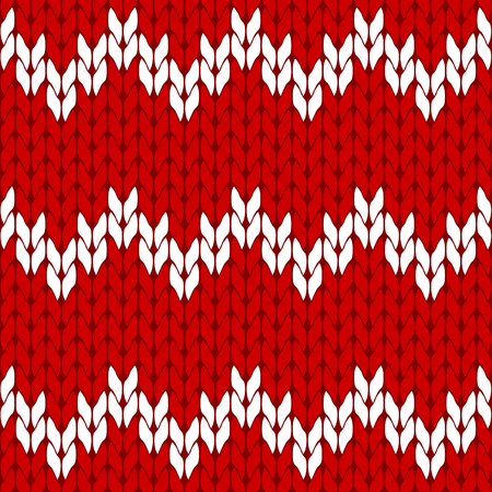 coarse: Knitted red and white background pattern triangle isolated vector Illustration