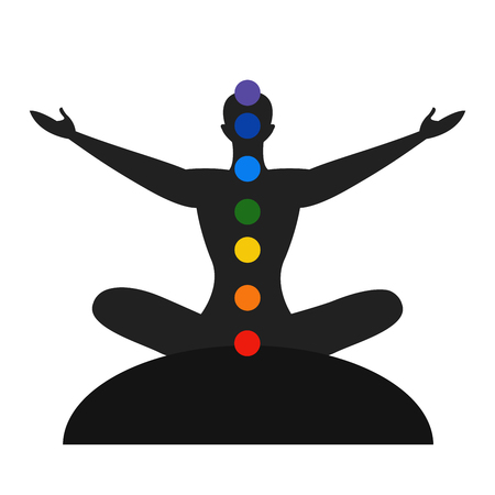 tantra: Silhouette of the meditate person with color the chakras, yoga person Illustration