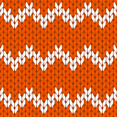 Knitted orange and white background pattern triangle isolated vector