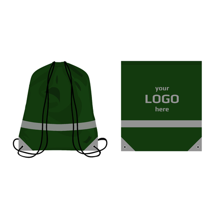 Visibility drawstring bag green color with reflective parts and place for logo, isolated vector.