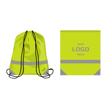 Visibility drawstring bag light green color with reflective parts and place for logo, isolated vector.