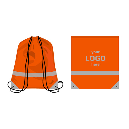 Visibility drawstring bag orange color with reflective parts and place for logo, isolated vector.