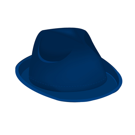 chap: A blue navy unisex fashion hat, summer panama hat isolated vector