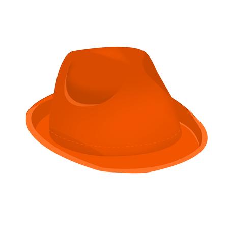 Orange unisex fashion hat, summer panama hat isolated vector Çizim