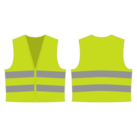Gelbe grüne reflektierende Sicherheitsweste für Menschen isoliert Vektor vorne und hinten für die Förderung auf dem weißen Hintergrund