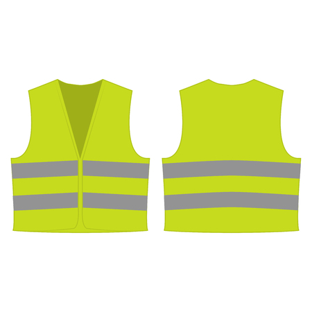 Yellow green reflective safety vest for people isolated vector front and back for promotion on the white background