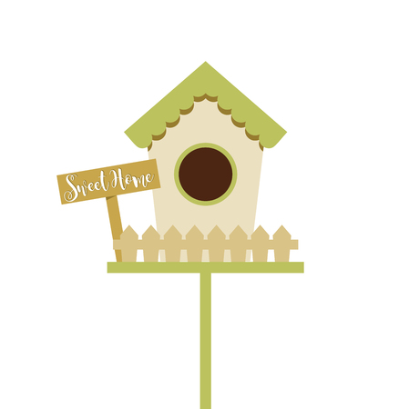 Spring colorful bird house, sweet home text isolated vector