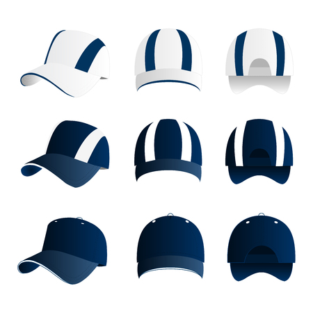 Strip baseball cap blue color with colored mesh and adjustable rubber strap isolated vector set Çizim