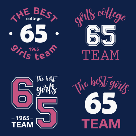 The best girls team college logo 65 isolated vector set