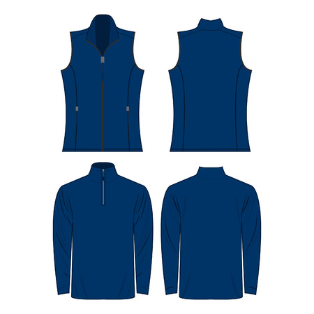 blue color autumn fleece vest and jacket isolated vector on the white background Çizim