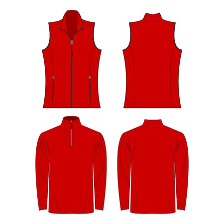 Red color autumn fleece vest and jacket isolated on white background