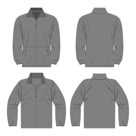 Gray autumn, spring fleece jacket set isolated vector front and back for Çizim