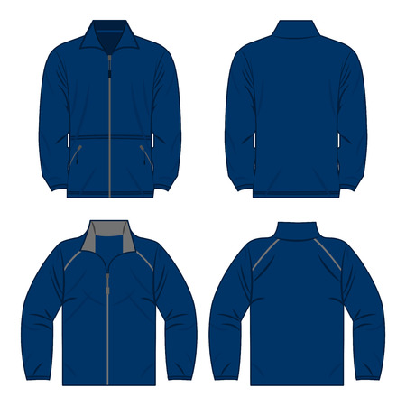 Blue autumn, spring fleece jacket set isolated vector front and back for