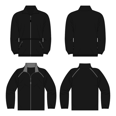 Black autumn, spring fleece jacket set isolated vector front and back
