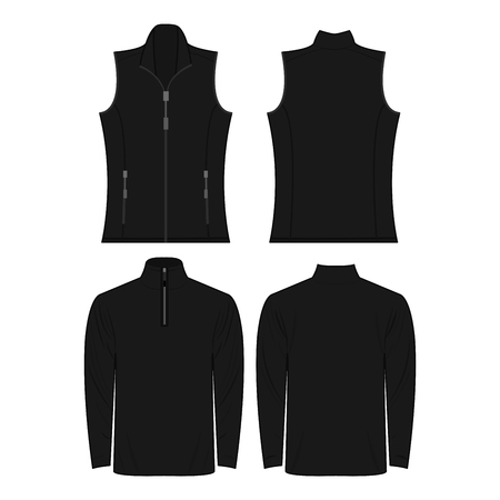 Black color autumn fleece vest and jacket set isolated on white background