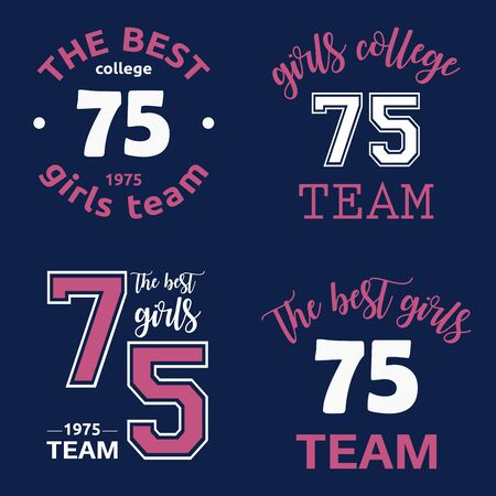 The best girls team college logo 75 isolated vector set
