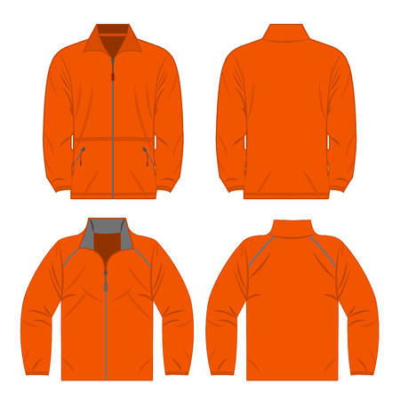 Orange color autumn fleece jacket and sport jacket isolated on white background