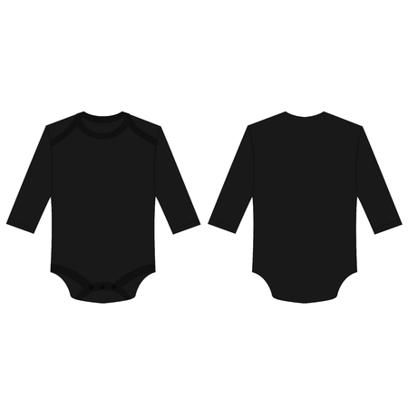 Black baby long sleeve back and front bodysuit isolated vector