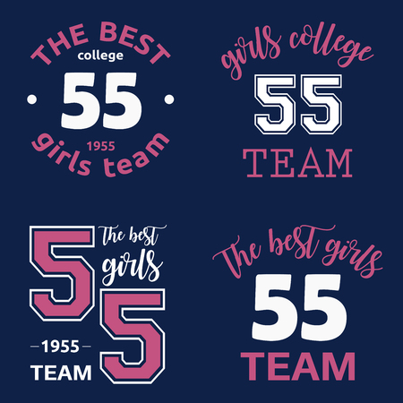The best girls team college logo 55 isolated vector set Çizim