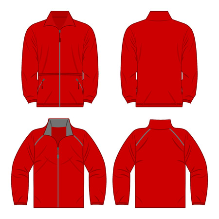 Red color autumn fleece jacket and sport jacket isolated on white background