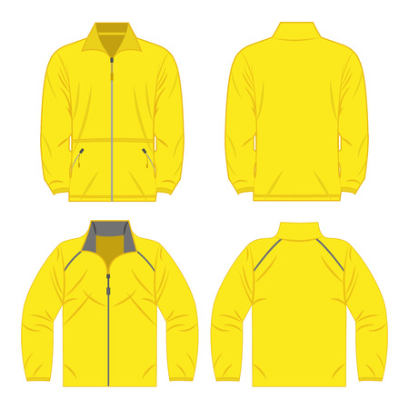 Yellow color autumn fleece jacket and sport jacket isolated on white background