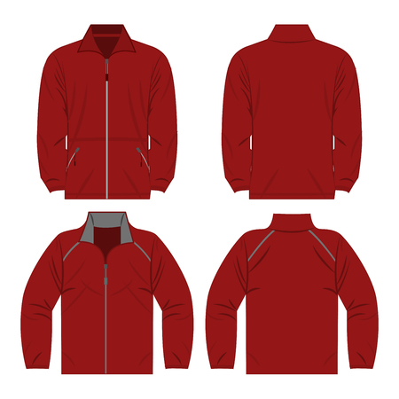 Dark red color autumn fleece jacket and sport jacket isolated on white background