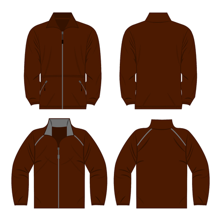 Brown color autumn fleece jacket and sport jacket isolated on white background.