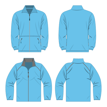Baby blue color autumn fleece jacket and sport jacket isolated on white background.