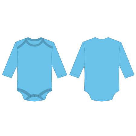 Baby blue baby long sleeve back and front bodysuit isolated vector.