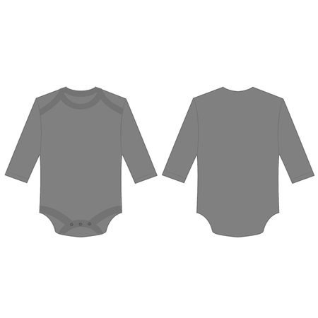 Gray baby long sleeve back and front bodysuit isolated vector.