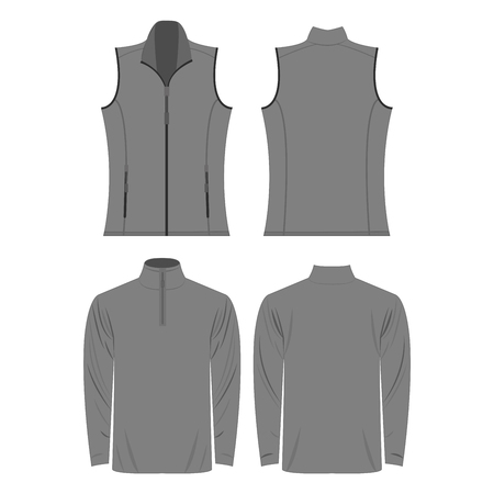 Gray color autumn fleece vest and jacket set isolated on white background