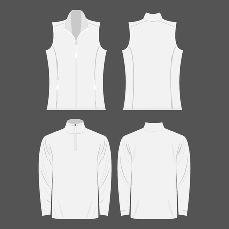 White color autumn fleece vest and jacket isolated on white background Çizim