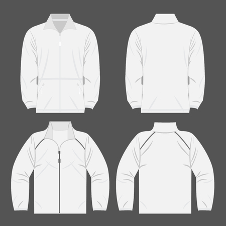 White color autumn fleece jacket and sport jacket set isolated vector