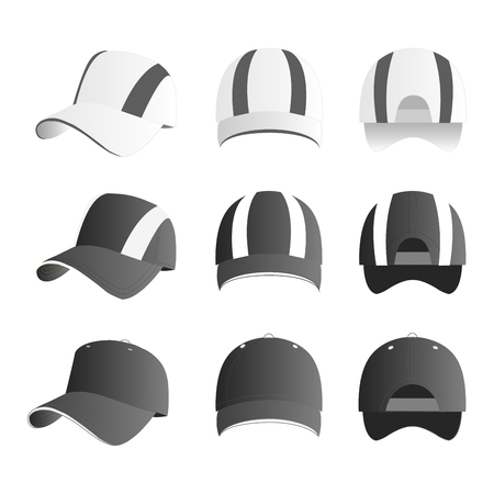 Strip baseball cap gray color with colored mesh and adjustable rubber strap isolated vector set